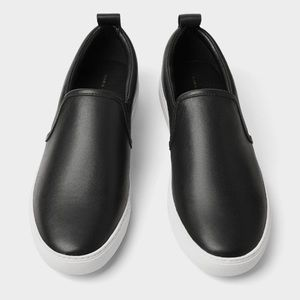 Zara men black leather sneakers